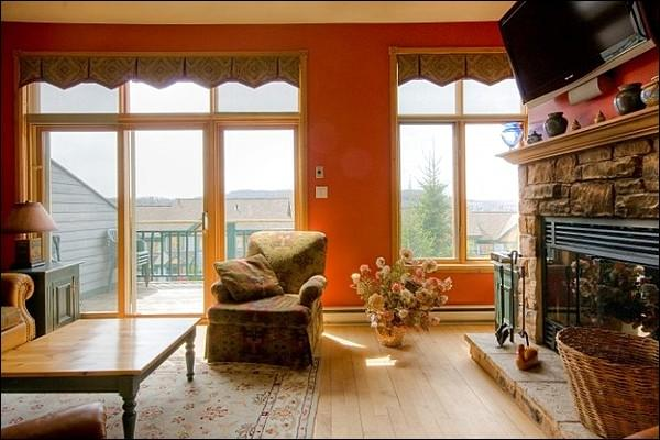 Colorful Living Room Features a Flat Screen TV and Gas Fireplace - Lovely View of the Village - Perfect for Large Families (6045) - Mont Tremblant - rentals