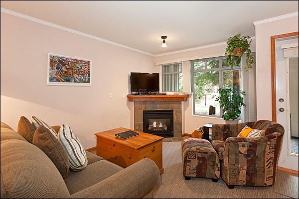 The Living Area Features a Gas Fireplace and Flat Screen TV - Private Outdoor Hot Tub - Gas Fireplace (4051) - Whistler - rentals