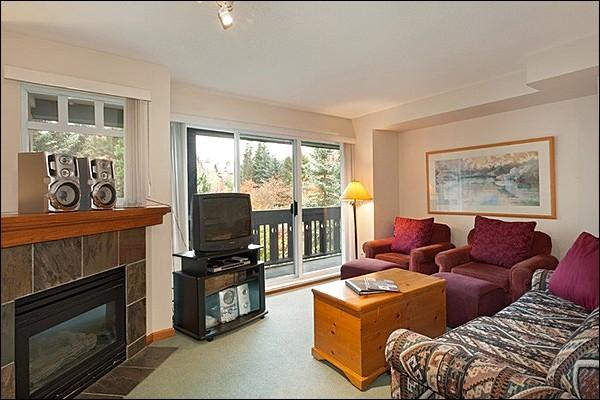 The Living Area Features a Gas Fireplace and a Private Balcony - Just a Short Walk to the Lifts - Gas Fireplace (4052) - Whistler - rentals