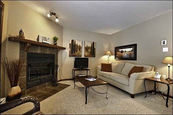 The Living Area is Cozy and Features a Sleeper Sofa , Fireplace and Flat Screen TV - Private Patio with Outdoor Patio Set - Common Area Pool Available in the Summer Months (6155) - Mont Tremblant - rentals