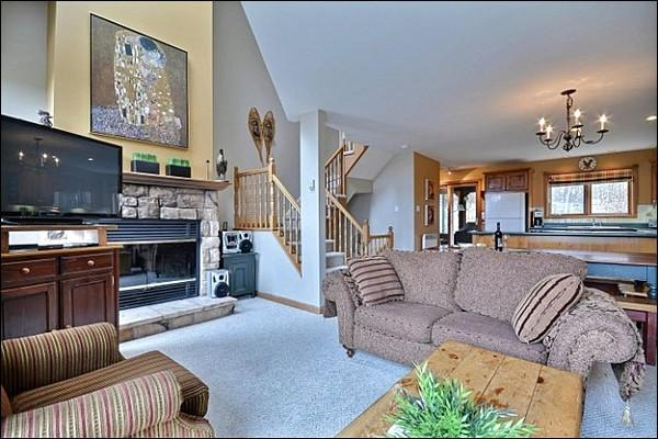 Living Room Features a  Warm Fireplace - Short Walk to Village and Free Shuttle - View of Forest and Lake (6200) - Mont Tremblant - rentals