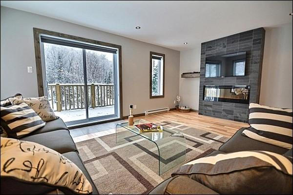 Living Room has Modern Furnishings and an Electric Fireplace - Modern Unit with Lovely Mountain Views - Convenient Location & Fantastic Features (6241) - Mont Tremblant - rentals