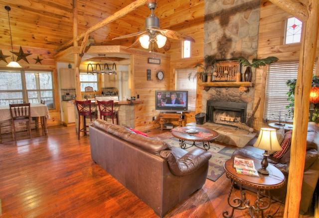 Open Living Room - Serenity Falls - Helen - rentals