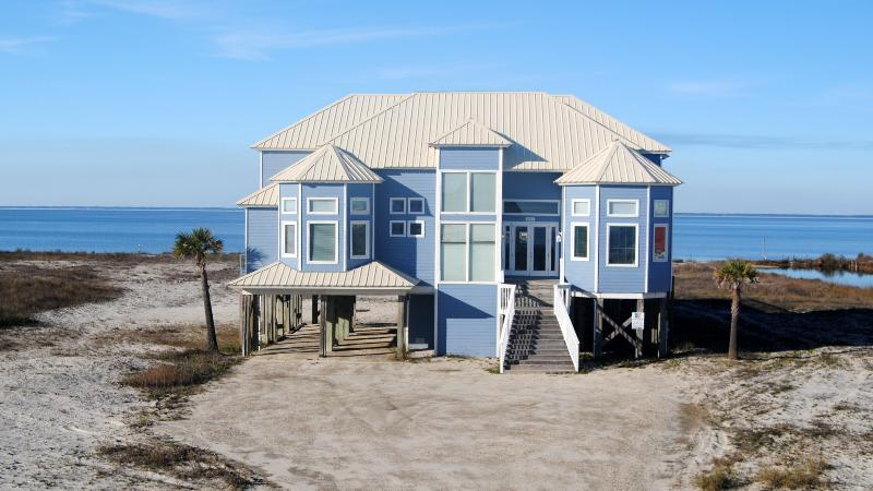 Luxury Waterfront Home with  Private Pool and  Hot Tub, overlooking a private bayfront sandy beach. - Image 1 - Dauphin Island - rentals