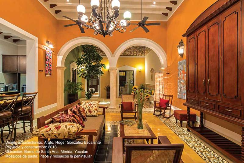 Main Living Room Photo from Ambientes' Magazine, Jan 2016 edition - Casa Castellanos full of Light and Color - Merida - rentals