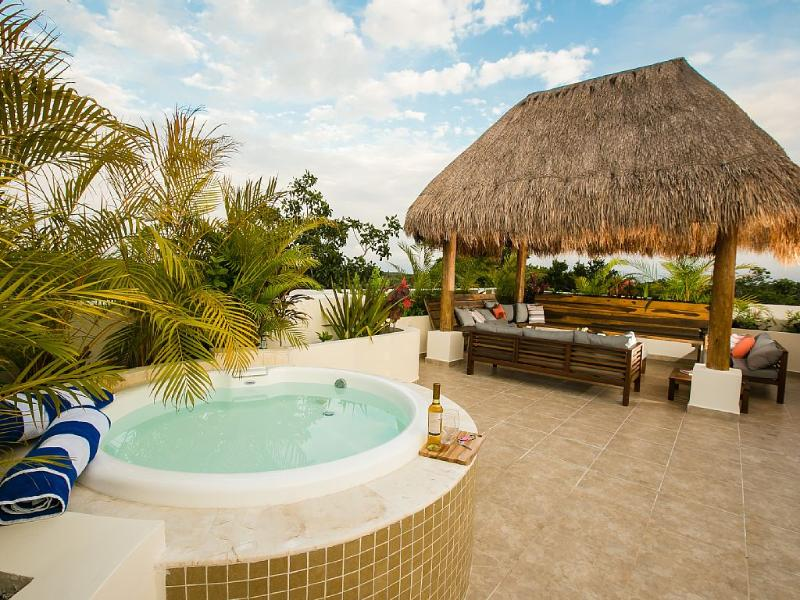 Private rooftop deck with covered palm palapa & spa tub - Tulum 2 BR Penthouse with Private Rooftop Patio - Tulum - rentals
