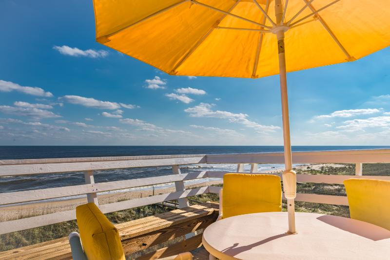 View from the Oceanfront Deck. Lifeguard Stat. just to the R! How Lucky Is That! - 180 Degrees Oceanfront View!!! Top Floor End Unit! - Carolina Beach - rentals