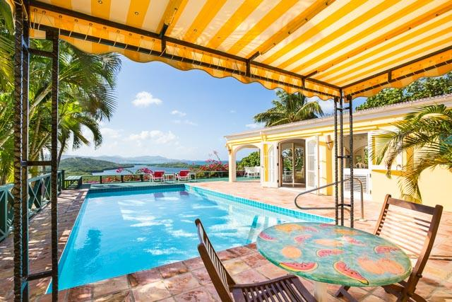 Beautiful sunny day by the heated saline pool! - Spectacular Hilltop Home, Views Of Caribbean Sea - Christiansted - rentals