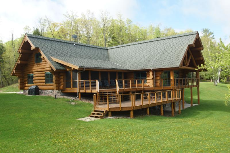 Lodge from deck side - One of a Kind North Woods Lake Lodge - Pickerel - rentals