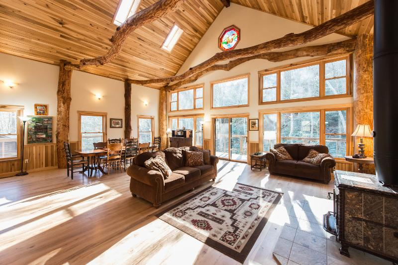 Living Room - Laughing Waters Lodge Overlooking Hickory Nut Creek Waterfall - Gerton - rentals