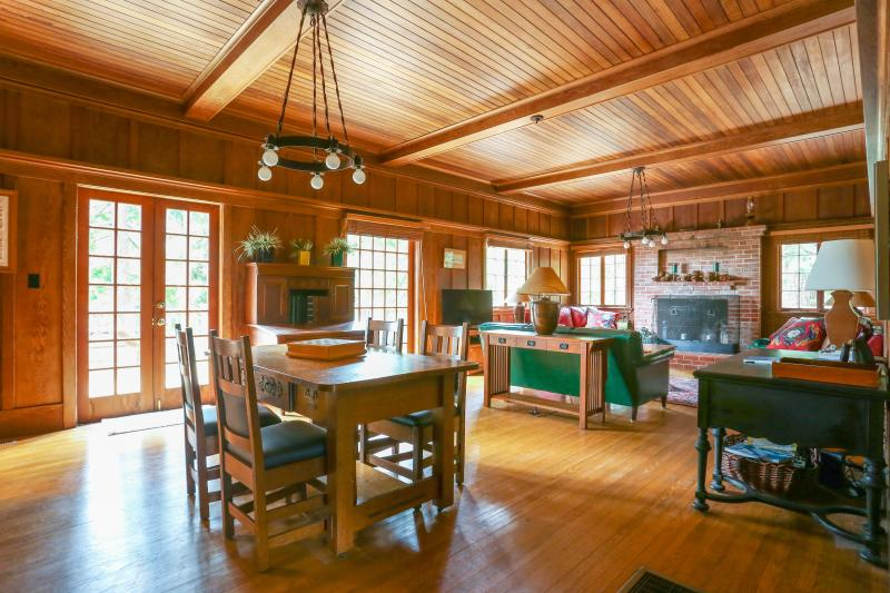 Large Open Living Room with Fireplace & French Doors - Wildwood - Historic 6 Bedroom - Rustic Elegance - Inverness - rentals