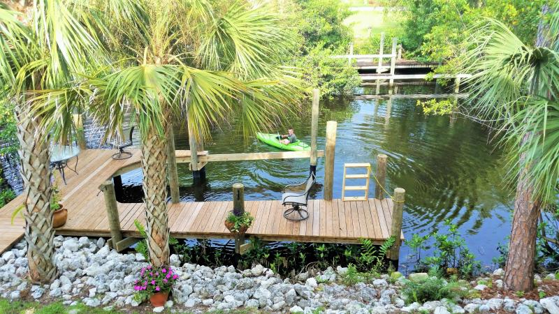 private dock, great area for wildlife viewing - Belle Rio Beauty: New House on Canal, Private Pool - Bonita Springs - rentals