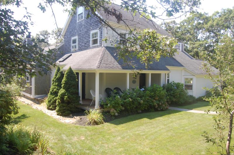 Yard & Entry Side of House - MURPL - Terraced Gardens, Contemporary Open Design, Private Landscaped Yard, AC, Centrally  Located - Oak Bluffs - rentals