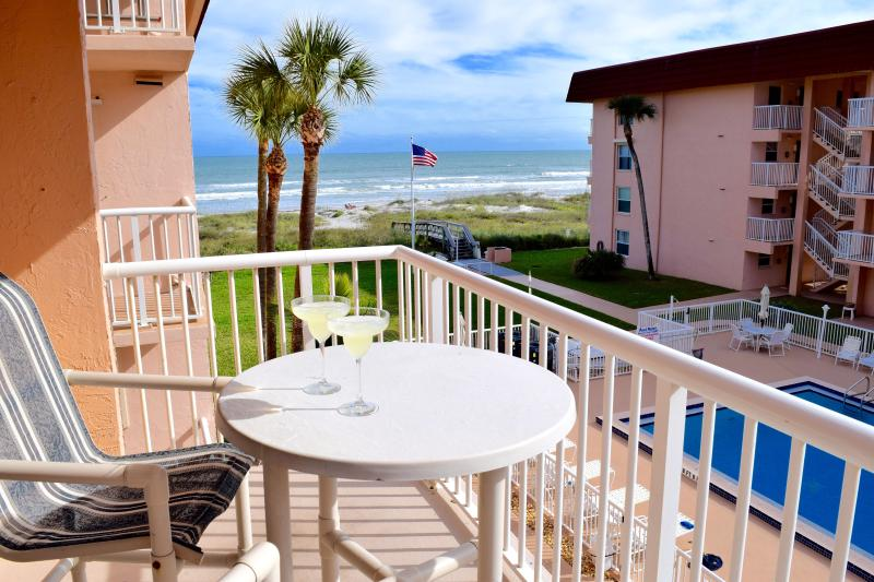 "The view from your balcony. Spanish Main is right on the beach. - ** Spacious 3 Bedroom on Beach! 4 x 50"" LCD TV's * - Cocoa Beach - rentals"