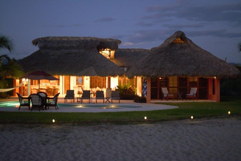 House at Night - Casa Colibri Affordable Beach Front Villa - Puerto Escondido - rentals