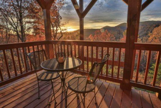 Terrace level private patio with seating for two. - Custom Furnishings In This Luxury North Georgia Vacation Cabin - Ellijay - rentals