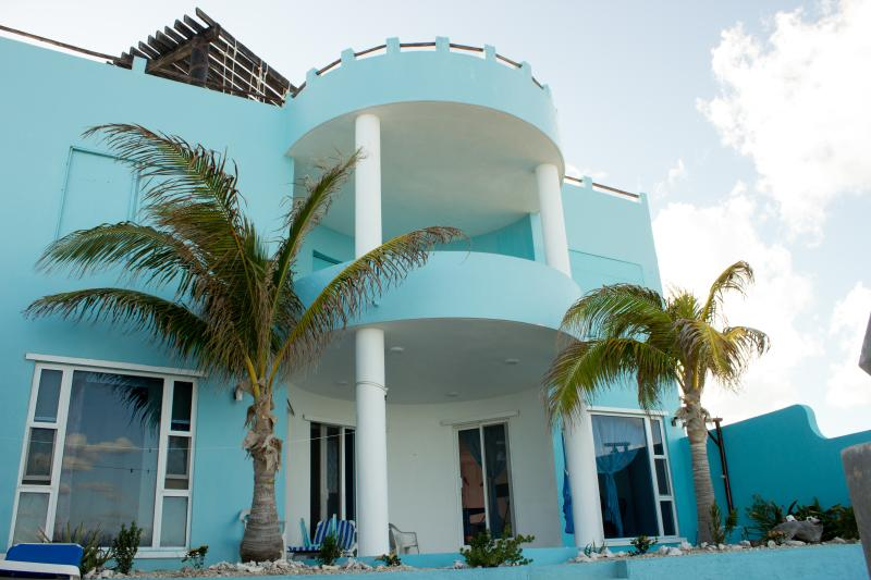 Beautiful Casa Cielo viewed from Caribbean beach behind house  - Casa Cielo 2-3BR Oceanfront Villa - Isla Mujeres - rentals