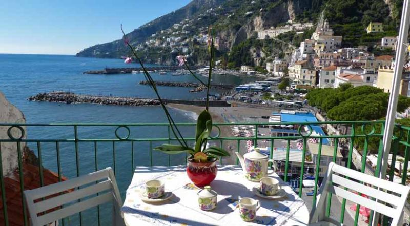01 Casa Marina balcony with sea view - CASA MARINA Amalfi centre - Amalfi Coast - Amalfi - rentals