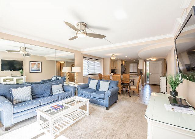 Lovely living room - Island Club 6106, 2 Bedrooms, Lagoon View, Large Pool, Hot Tub, Sleeps 7 - Palmetto Dunes - rentals