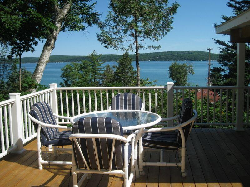 Spectacular view of Crystal Lake - Hill Top Hideaway-Spectacular View 1/2 block beach - Beulah - rentals