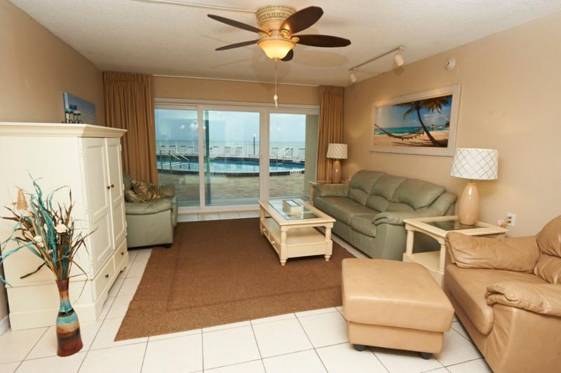 Spacious Living room with plenty of seating, Large Screen HD Plasma TV and DVD player - Beautifully renovated Oceanfront unit by pool - Satellite Beach - rentals