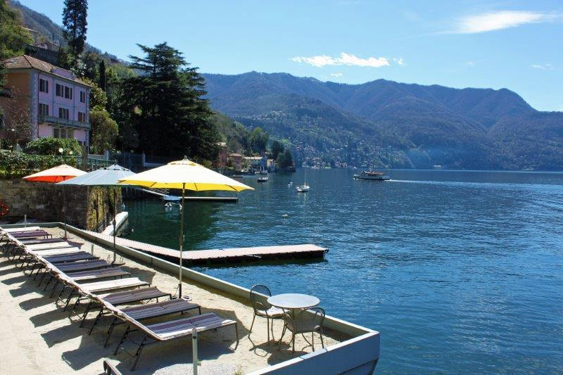 Lake Como Beach Resort private sand lido and dock/jetty for swimming - BEACHFRONT -  Villa Vista Lago -  Lakefront Views - Como - rentals