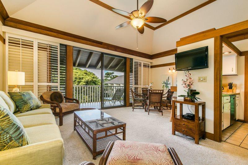 Living Room, Dining Area and Lanai - Kiahuna 436-Fantastic 1bd in the heart of Poipu at beautiful Kiahuna Plantation.* Free car with stays of 7nts or more - Poipu - rentals