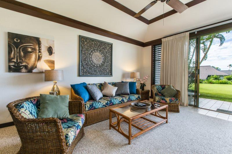 Living Room looking Outside. - Kiahuna 85-Great 1bd sleeps 4 in Poipu close to beaches with  FREE mid-size car - Poipu - rentals