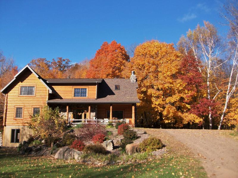 Front of Lodge...Beautiful maple trees in the fall - Rustic Lodge ( not on a lake)(Rates based on 6 guest) - Shell Lake - rentals