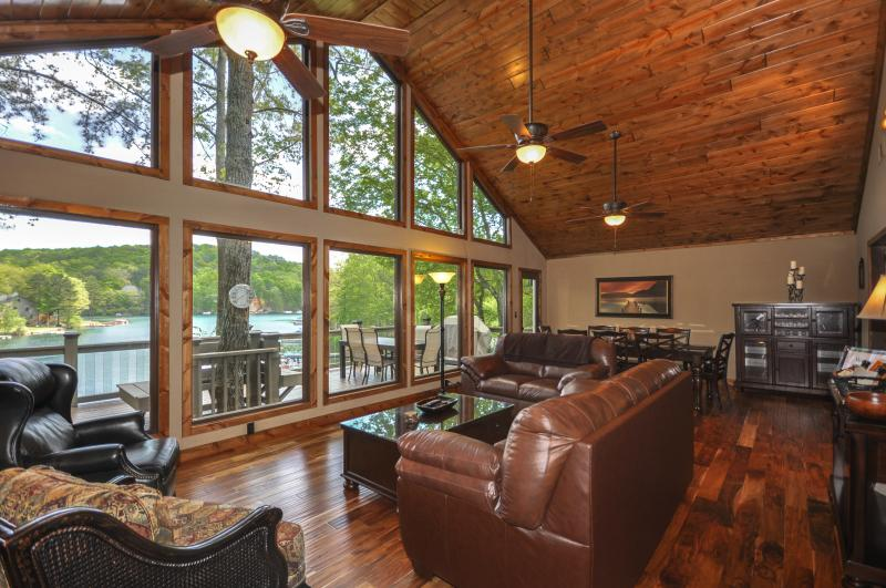 Lakefront home.  View from great room overlooking lake. - Lakefront home, theater, dock, swim-fish-boat - Waleska - rentals