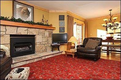 Living Area/Cozy Stone Fireplace/Leather Furniture - Luxury Ski-In Condo! 2 BR/2 BA,Ideal Location! - Breckenridge - rentals