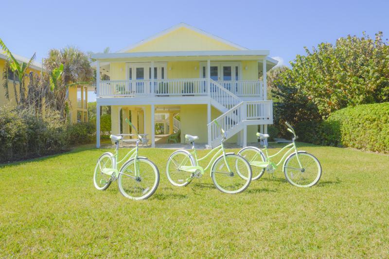 Back yard of the home, near the ocean. Three beach cruisers available for you! - Daisy Mae Beach Home, Ocean Front, Pet Friendly - Vero Beach - rentals