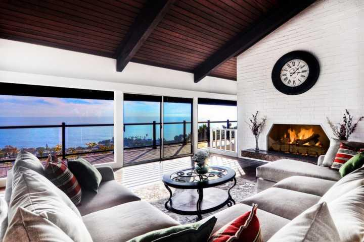 Main level living room with Catalina ocean views - Laguna Beach Pool Home - Laguna Beach - rentals
