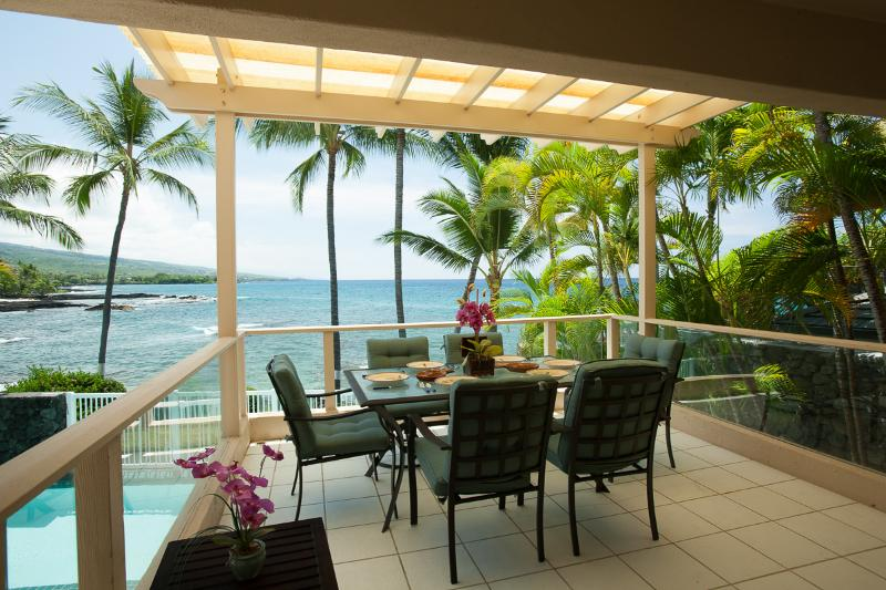 Outdoor Lanai with coastline and ocean views - Kona Oceanfront Home at Alii Point - Kailua-Kona - rentals