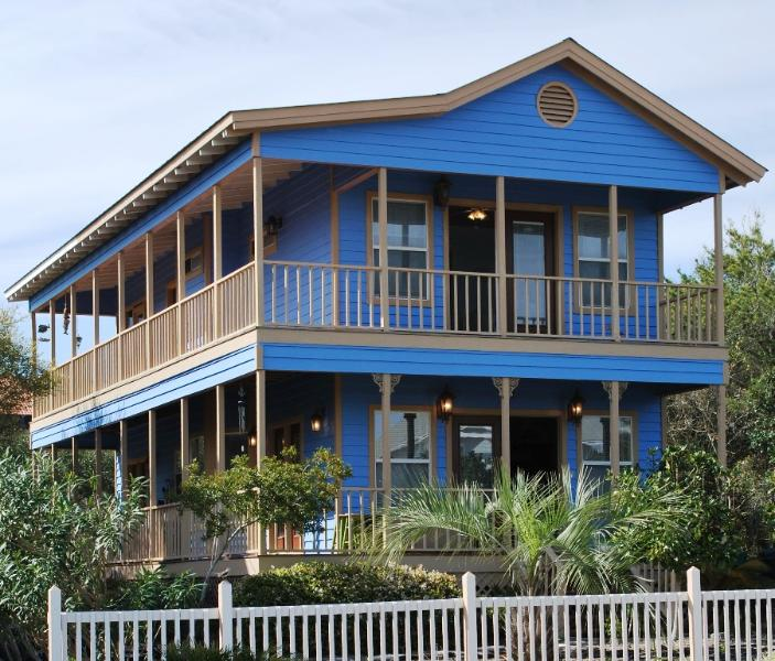 Beautiful bright blue color and wrap-around porch of this wonderful beach house. - Seconds to the Sand -Private Pool and screen Porch - Destin - rentals