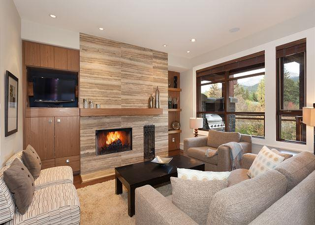 Relax by the Wood Burning Fireplace and Flat Screen TV - Whistler Platinum | Fitzsimmons Walk 24 - Luxury 4 Bed Townhome,  Hot Tub - Whistler - rentals