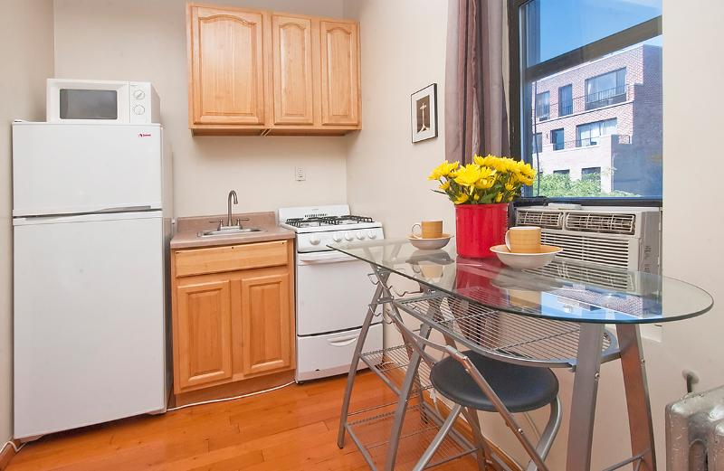 Functional kitchen  with full fridge, microwave, small sink, oven, dishes, cuttlery, pots, etc. - Adorable Times Square studio - amazing location - New York City - rentals
