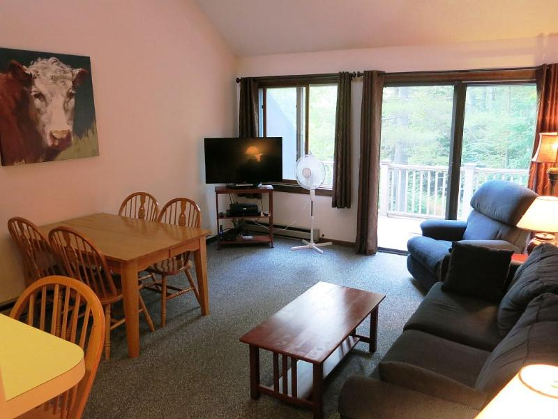 "Main floor living room features a 42"" LED TV, with HD Cable and Blu-Ray DVD - Burke Mtn. Condo Steps Away From Lift and Lodge - East Burke - rentals"