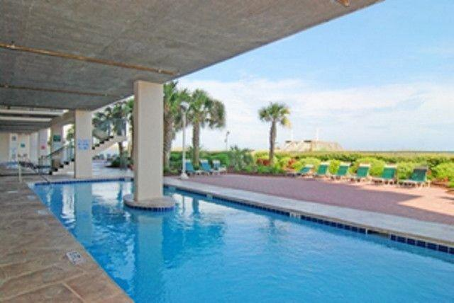 Covered oceanfront pool and lounge area - This Stunning Oceanfront 3BR/3BA in North Shore - North Myrtle Beach - rentals