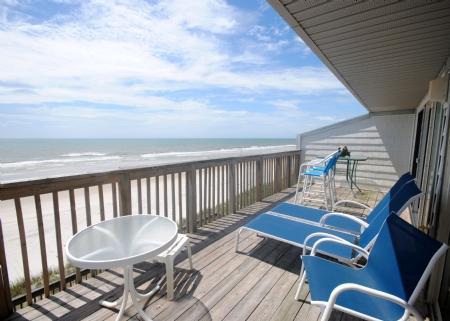 View from Oceanfront Deck - Queen's Grant E-215 - Topsail Beach - rentals