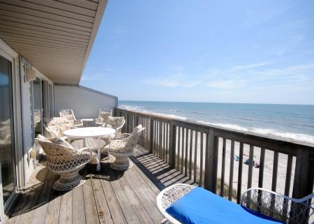 View from Oceanfront Deck - Queen's Grant F-218 - Topsail Beach - rentals