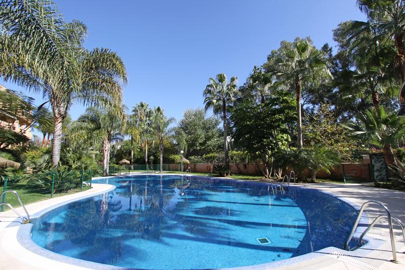Tropical garden with amazing pool area - BEACHFRONT 2. LINE DUPLEX PENTHOUSE 3TERRACES POOL - Marbella - rentals