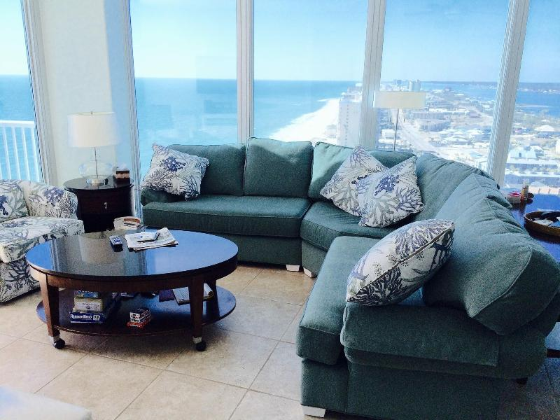 New awesome sofa -- TOP OF THE WORLD! Ships bow...You can see 5 bodies of water from this sofa. - A-1 perfect day & Sunset view at Island Tower 2403 - Gulf Shores - rentals