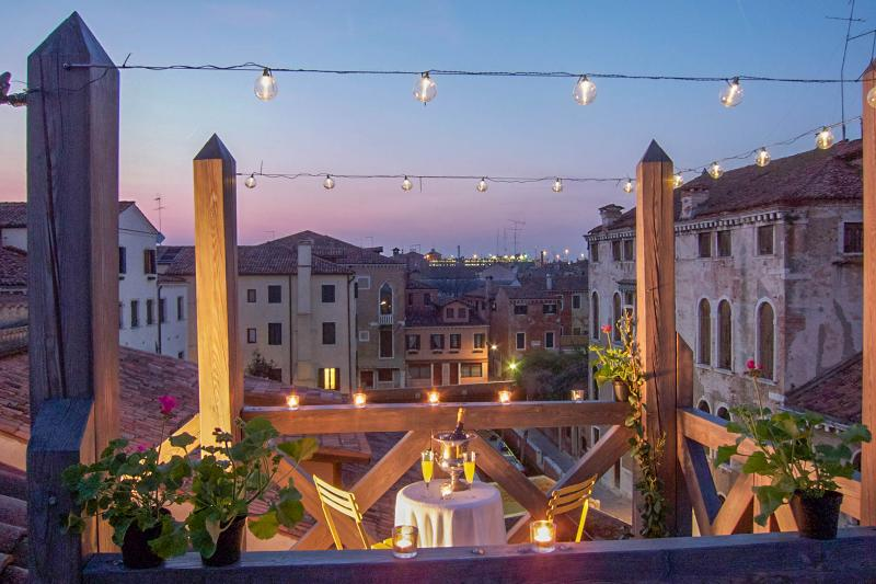 "Featured in Elle Decor's ""Best Views 2016"" - THE VENETIAN TERRACE DORSODURO canalside apartment - Venice - rentals"