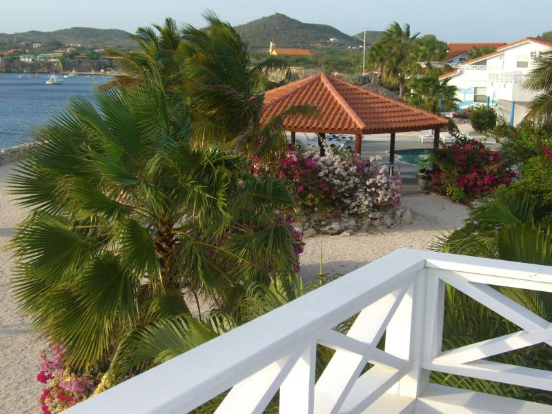 View of Gazebo, Swimming Pool and Westpunt - Oceanfront Island Gem with Great Snorkeling/Diving - Westpunt - rentals