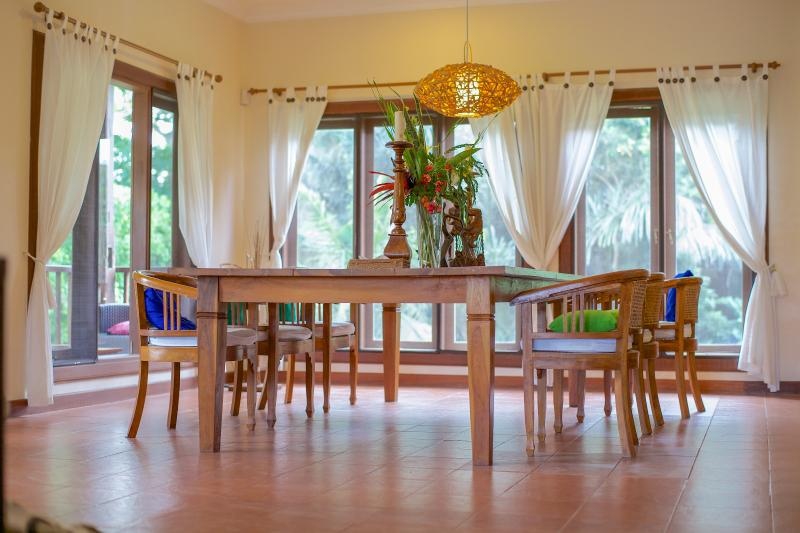 Dining area comfortably seats 10 to 12 and opens onto riverside balcony - Villa Teras Private 3 bedroom pool villa near Ubud - Ubud - rentals