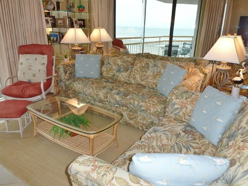 Family Room. Sofa, loveseat, chair, ottoman. Mirrored wall invites in the beach! - Ocean Creek Tower South Gorgeous 3BR/3BA Condo - Myrtle Beach - rentals