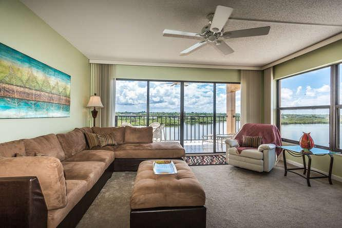 Living room looking out to intercoastal. Unit is on the south corner of the bldg-getting sun all day - FLORIDA, INDIAN SHORES, VIEWS OF THE INTER COASTAL - Indian Shores - rentals