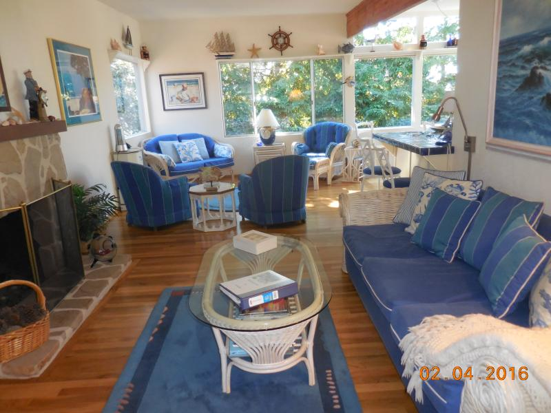 Living room with fireplace - Walk to downtown & beach from authentic, beautifully furnished Carmel cottage - Carmel - rentals