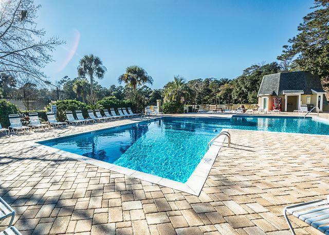 You choose: brilliant blue pool or the warm sand beaches! - Evian 298, 1st Floor, 2 Bedroom, Pool, Tennis, Ship Yard Plantation, Sleeps 8 - Forest Beach - rentals